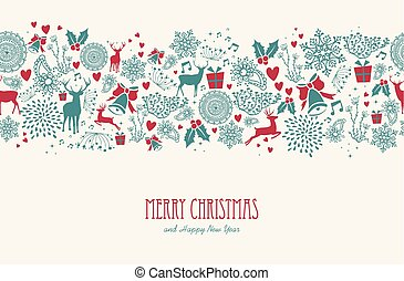 Vintage Christmas elements, reindeer with text seamless...