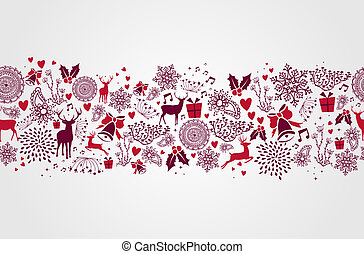 Vintage Christmas elements, reindeers and heart shapes seamless pattern background. EPS10 vector file organized in layers for easy editing.