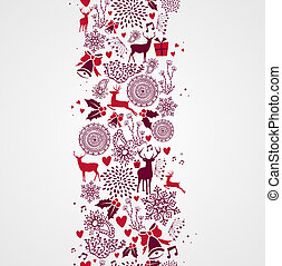 Vintage Christmas elements, reindeers and other elements seamless pattern background. EPS10 vector file organized in layers for easy editing.