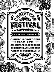 Vintage Christmas Festival Poster Black And White