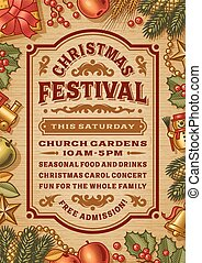 Vintage Christmas festival poster in woodcut style. Editable EPS10 vector illustration with clipping mask and transparency.