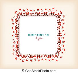 vintage christmas frame with santa