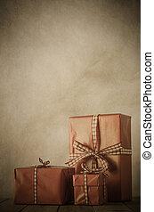 Vintage Christmas Gifts Arrangement - Vintage style image of...