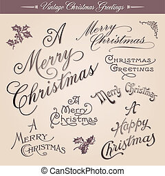 Vintage Christmas Greetings - Set of vector vintage ...