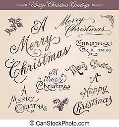 Vintage Christmas Greetings - Set of vector vintage...