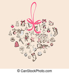 Vintage Christmas Heart Card - with hand drawn christmas elements - in vector