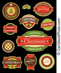 Vintage Christmas Holiday Labels and Badges