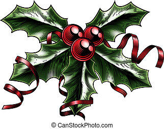 Vintage Christmas Holly Illustration