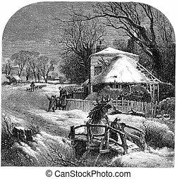 Vintage Christmas illustration with night snowfall on countryside