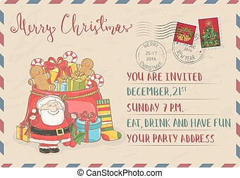 Vintage Christmas Invitation with Postage Stamps