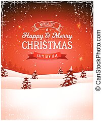 Vintage Christmas Landscape Background