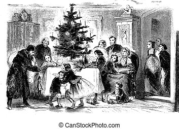 Vintage Christmas night at home, santa Claus entrance with toys and gifts, servants watching from drawing room door