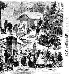 Vintage Christmas night, urban scene , people selling and buying Christmas trees, going to church and helping a beggar