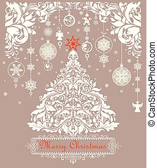 Vintage christmas pastel greeting card with paper cutting xmas floral white tree, floral adornment and hanging decoration with snowflakes, gingerbread and angels