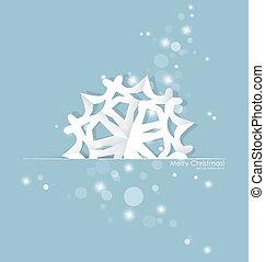 Vintage Christmas postcard with origami snowflake, vector...
