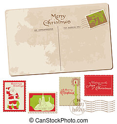 Vintage Christmas Postcard with Stamps - for scrapbook, ...