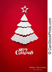 Vintage Christmas postcard with true paper christmas tree