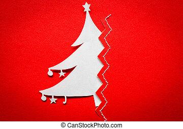 Vintage Christmas postcard with true paper christmas tree