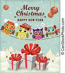 Vintage Christmas poster design owl