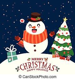 Vintage Christmas poster design with vector Reindeer, Santa Claus, elf, snowman characters.