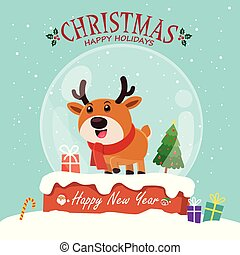 Vintage Christmas poster design with vector Reindeer, Santa Claus, snowman, elf characters.