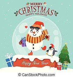 Vintage Christmas poster design with vector Reindeer, Santa Claus, snowman, elf, penguin characters.