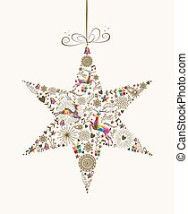 Vintage Christmas star bauble greeting card - Vintage...
