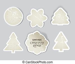 vintage christmas style labels set.