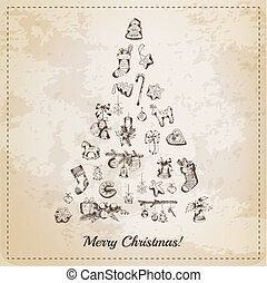 Vintage Christmas Tree Card - with hand drawn christmas elements - in vector