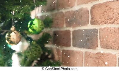 Vintage Christmas-tree decorations on a christmas fur-tree ...