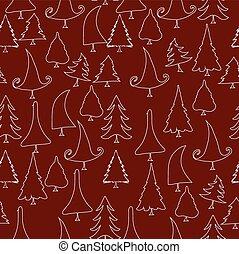 vintage christmas trees doodle