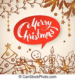 Vintage Christmas vector illustration