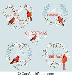 Vintage Christmas Winter Birds - Banners, Tags and Labels - in vector
