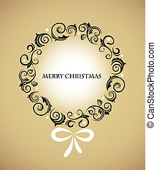 Vintage Christmas wreath  with retro ornaments