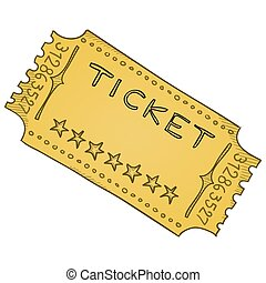 Vector template of paper admission ticket in beige colors