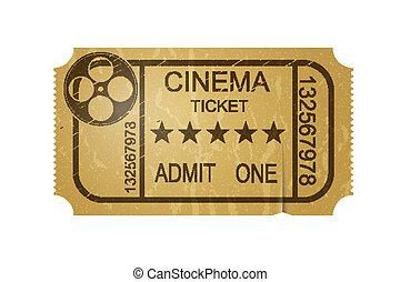 Vintage cinema ticket with grunge