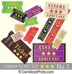 Vintage cinema tickets for movie