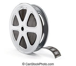 Vintage cinematography reel film on disc. 3d rendered...