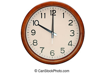 Vintage circle clock wooden frame isolate on white background