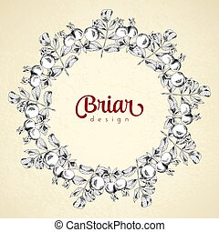 Vintage circle frame briar sketch template. Vector ...