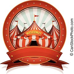 Vintage Circus Badge And Ribbon With Big Top - Illustration...
