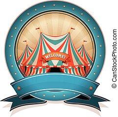 Vintage Circus Badge With Ribbon And Big Top
