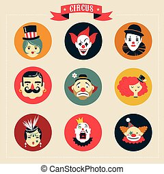 Vintage Circus, freak show icons and hipster characters -...