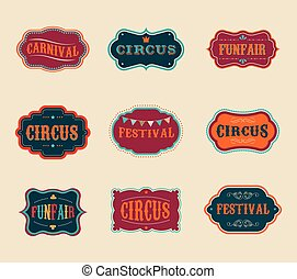 Vintage Circus labels set