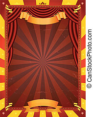 Vintage Circus Poster - Illustration of a retro red and...