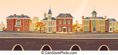 Vintage city autumn street with european buildings