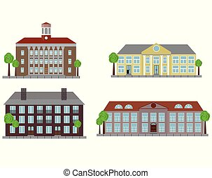 Vintage City Houses Set isolated on White