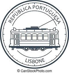 Vintage city tram - tramway in Lisbon, Portugal emblem, ...