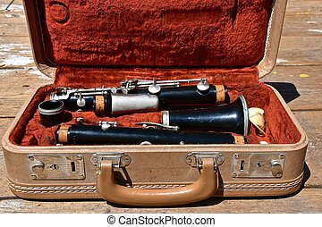 Vintage clarinet in a carrying case