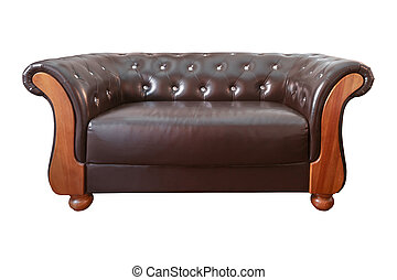 vintage Classic Brown leather armchair isolated on white background